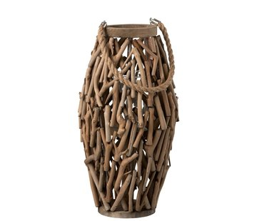 J -Line Lantern Cylinder Spruce Wood Branches Wood Brown - Large