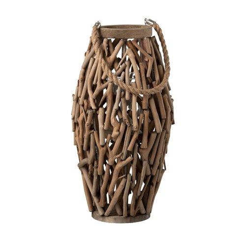 J-Line Lantern Cylinder Spruce Wood Branches Wood Brown - Large
