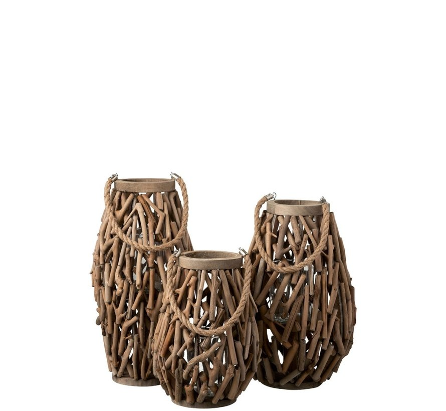 Lantern Cylinder Spruce Wood Branches Wood Brown - Large