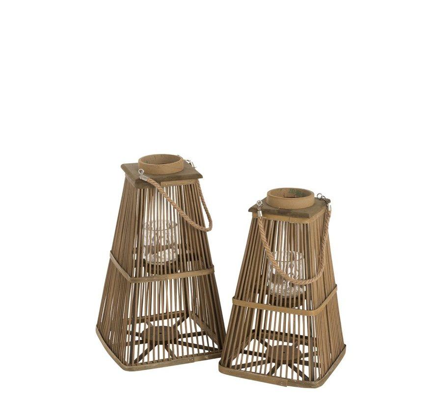 Lantaarn Toren Bamboo Natuurlijk Bruin - Large