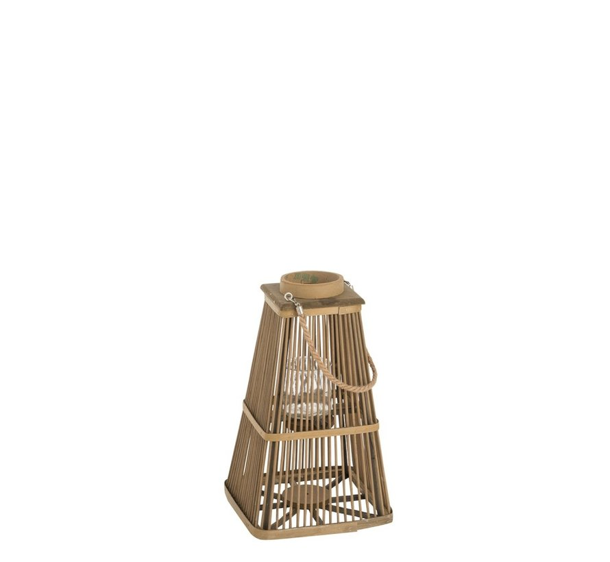 Lantaarn Toren Bamboo Natuurlijk Bruin - Small