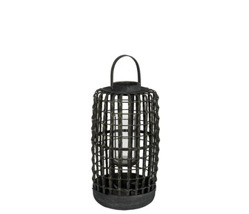 J -Line Lantern Cylinder Woven Rattan Black - Small