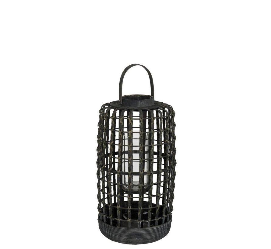 Lantaarn Cilinder Geweven Rotan Zwart - Small