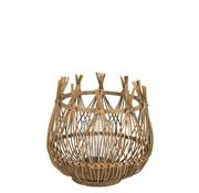 J -Line Theelichthouder Bloem Bamboo Natuurlijk Bruin - Medium
