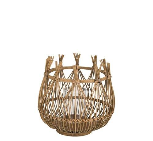 J -Line Tea Light Holder Flower Bamboo Natural Brown - Medium