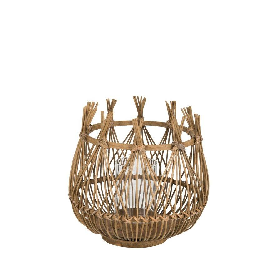 Tea Light Holder Flower Bamboo Natural Brown - Medium