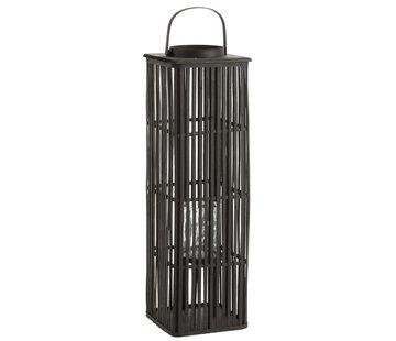 J -Line Lantern Bamboo Rectangle High Black - Large