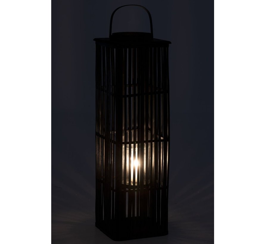 Lantaarn Bamboo Rechthoek Hoog Zwart - Large