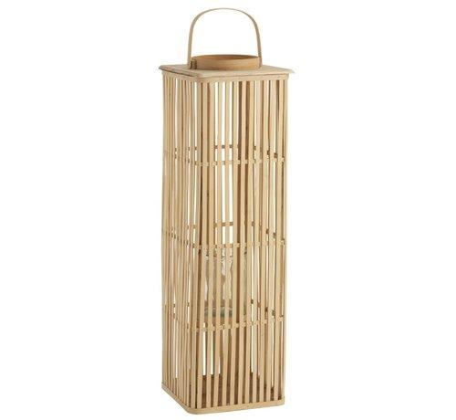 J -Line Lantaarn Bamboo Rechthoek Hoog Natuurlijk Bruin - Large
