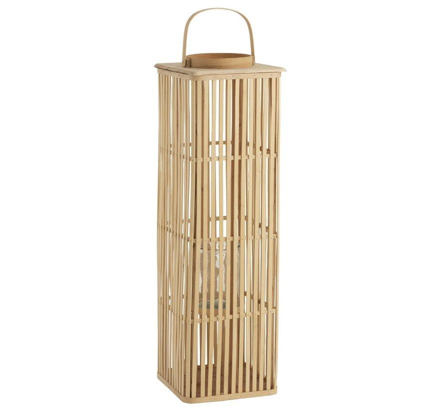 Lantaarn Bamboo Rechthoek Hoog Natuurlijk Bruin - Large