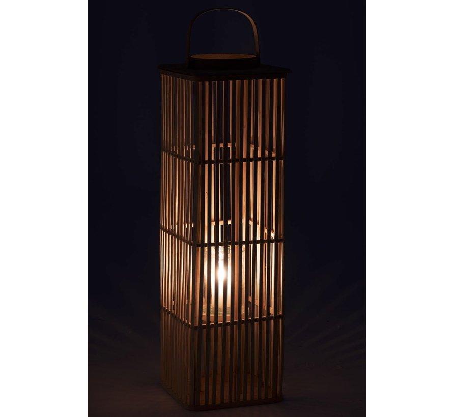 Lantern Bamboo Rectangle High Natural Brown - Large