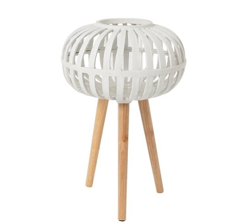 J -Line Candle Holder Ufo On Foot Polyester White - Large