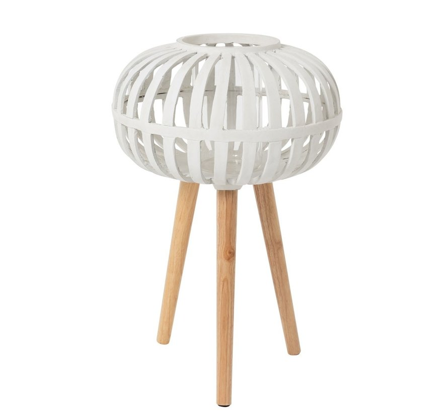 Candle Holder Ufo On Foot Polyester White - Large