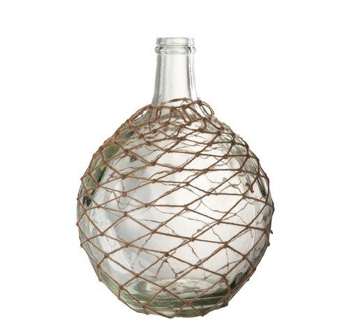 J-Line Bottles Vase Glass Nets Transparent - Sand