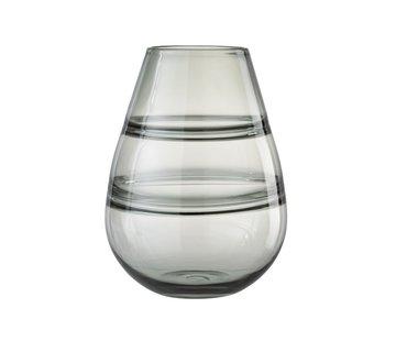 J -Line Vaas Glas Gestreept Transparant Grijs - Large