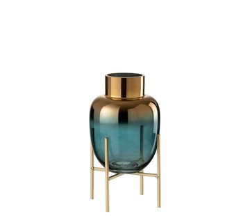 J -Line Vase On Foot Glass Metallic Turquoise Gold - Small