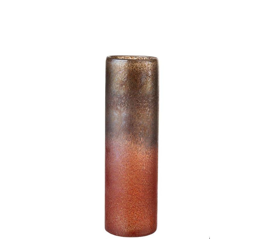 Vaas Glas Cilinder Gespikkeld Bordeaux Oker - Large
