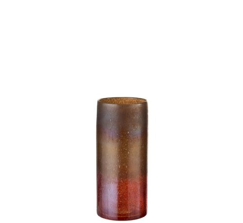 J -Line Vaas Glas Cilinder Gespikkeld Bordeaux Oker - Medium