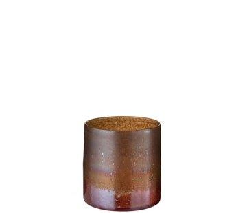 J-Line Vaas Glas Cilinder Gespikkeld Bordeaux Oker - Small