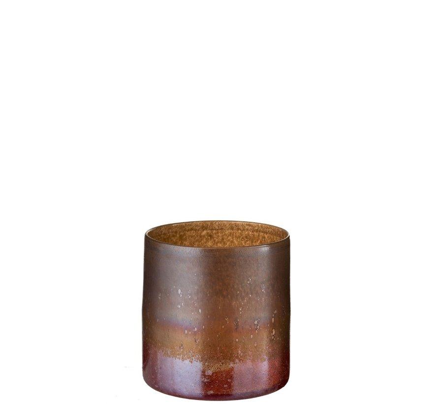 Vaas Glas Cilinder Gespikkeld Bordeaux Oker - Small