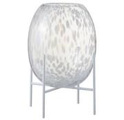 J -Line Vase On Foot Glass Metal Stains Transparent White - Large