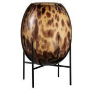 J -Line Vase On Foot Glass Metal Flamed Transparent Brown - Large
