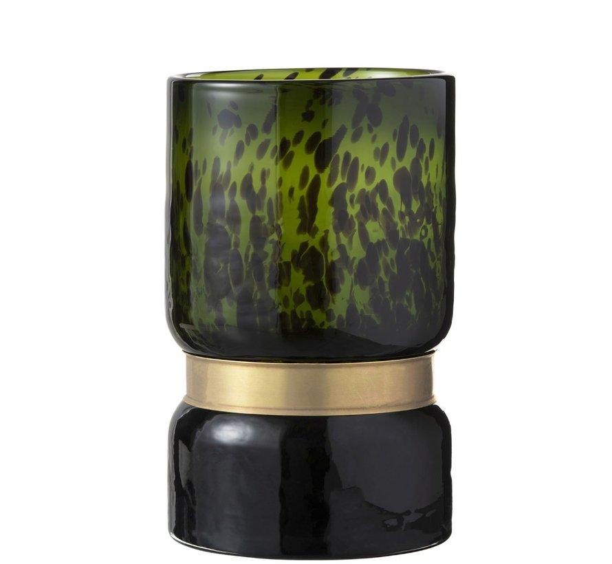 Vase Cylinder Speckled Green Black Gold - large