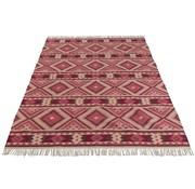 J -Line Carpet Rectangle Wool Gypsy Pattern White - Pink
