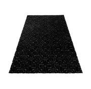 J -Line Carpet Rectangle Viscoze Embossed Patterns Black - Gray