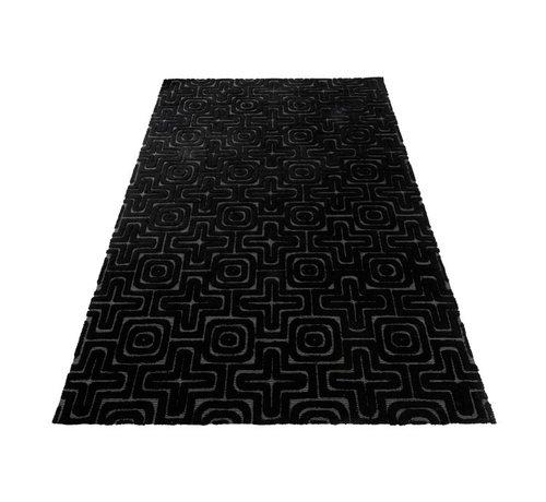 J -Line Carpet Rectangle Viscoze Embossed Patterns Black - Gray