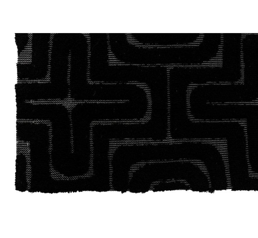 Tapijt Rechthoek Viscoze Reliëf Patronen Zwart - Grijs