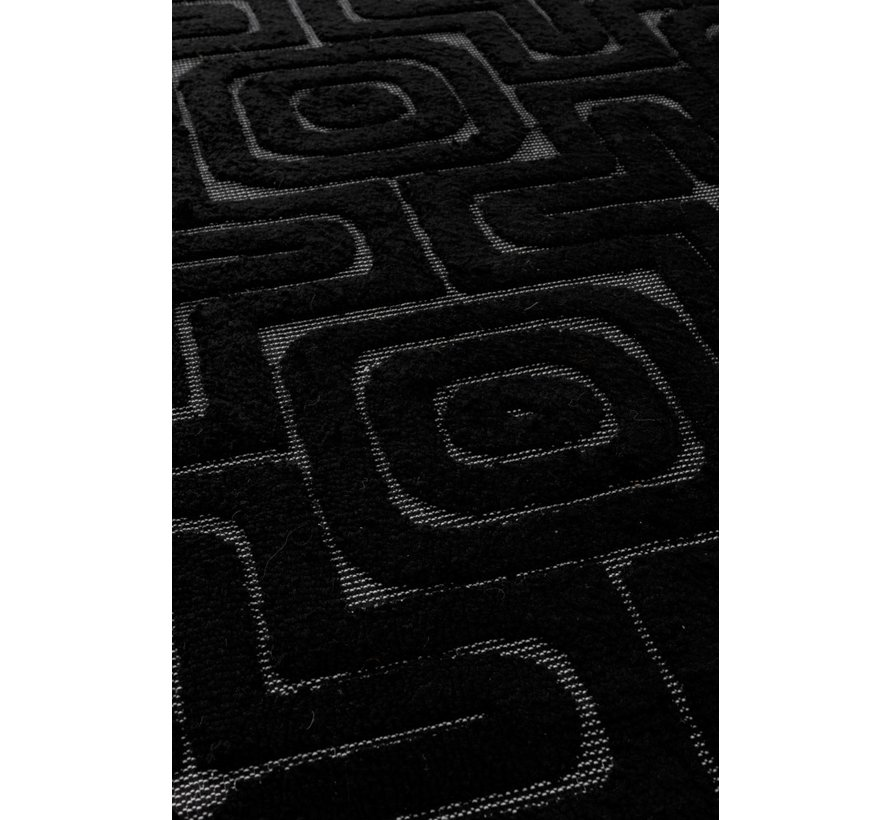 Carpet Rectangle Viscoze Embossed Patterns Black - Gray