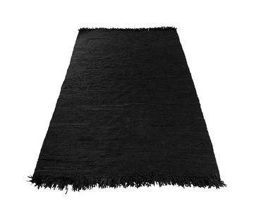 J -Line Carpet Rectangle Crochet Leather Fringes - Black