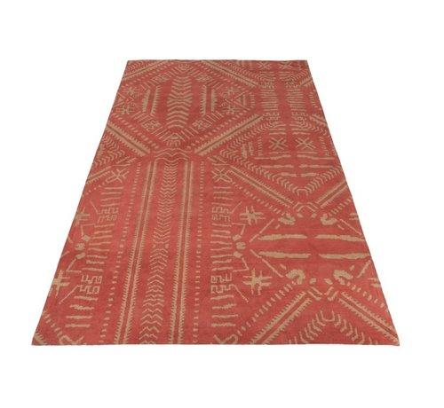 J -Line Carpet Rectangle Cotton Ethnic Pattern Orange - Beige