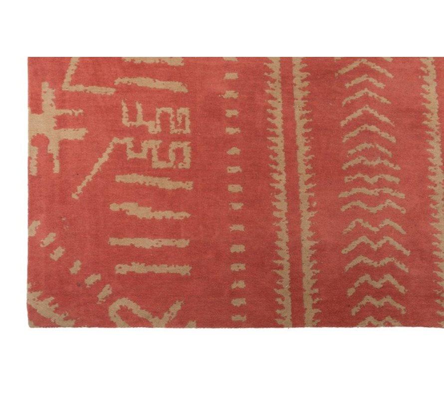 Tapijt Rechthoek Katoen Etnisch Patroon Oranje - Beige