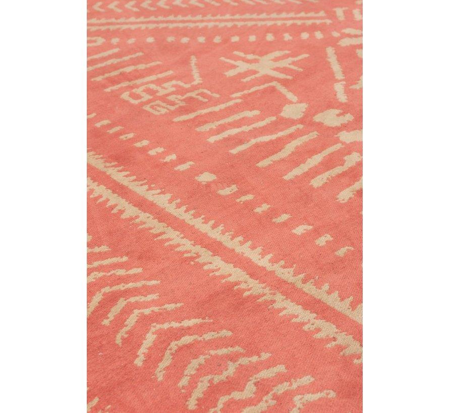 Carpet Rectangle Cotton Ethnic Pattern Orange - Beige