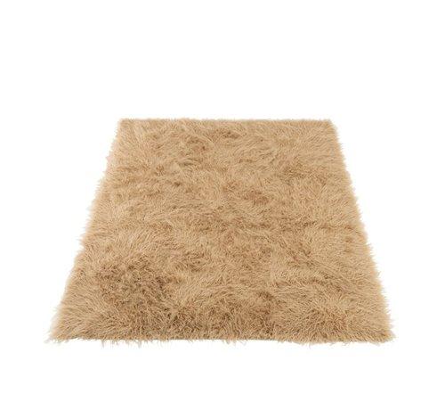 J -Line Carpet Rectangle Acrylic Long Hair - Beige