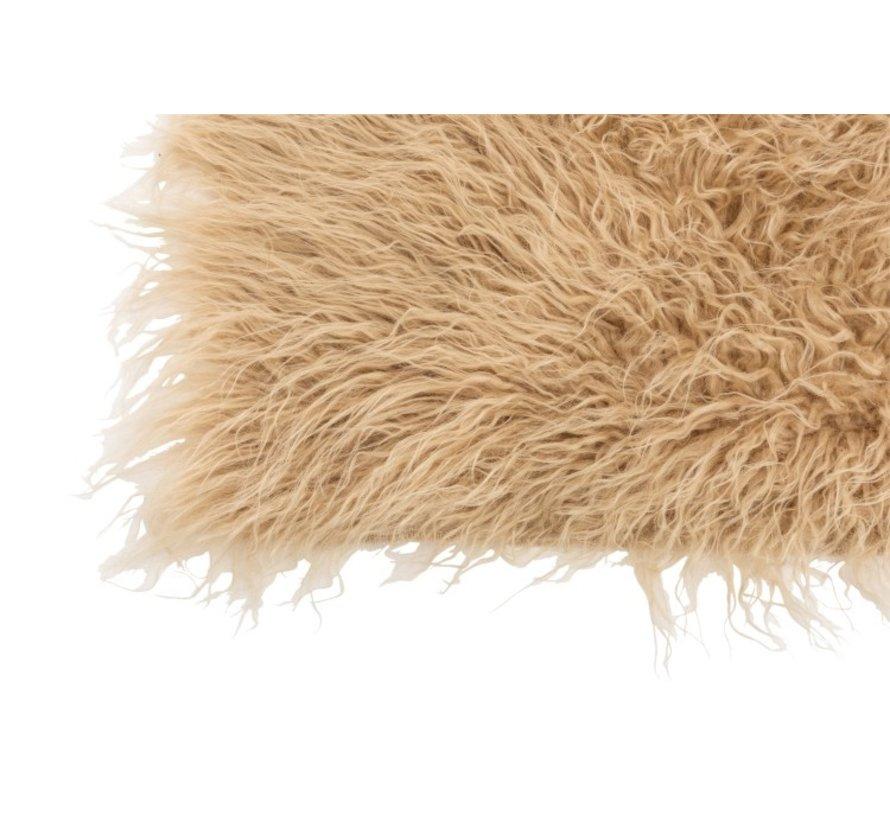 Carpet Rectangle Acrylic Long Hair - Beige