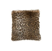 J-Line Cushion Square Fake Fur Leopard Black - Brown