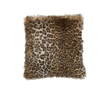 J -Line Cushion Square Fake Fur Leopard Black - Brown
