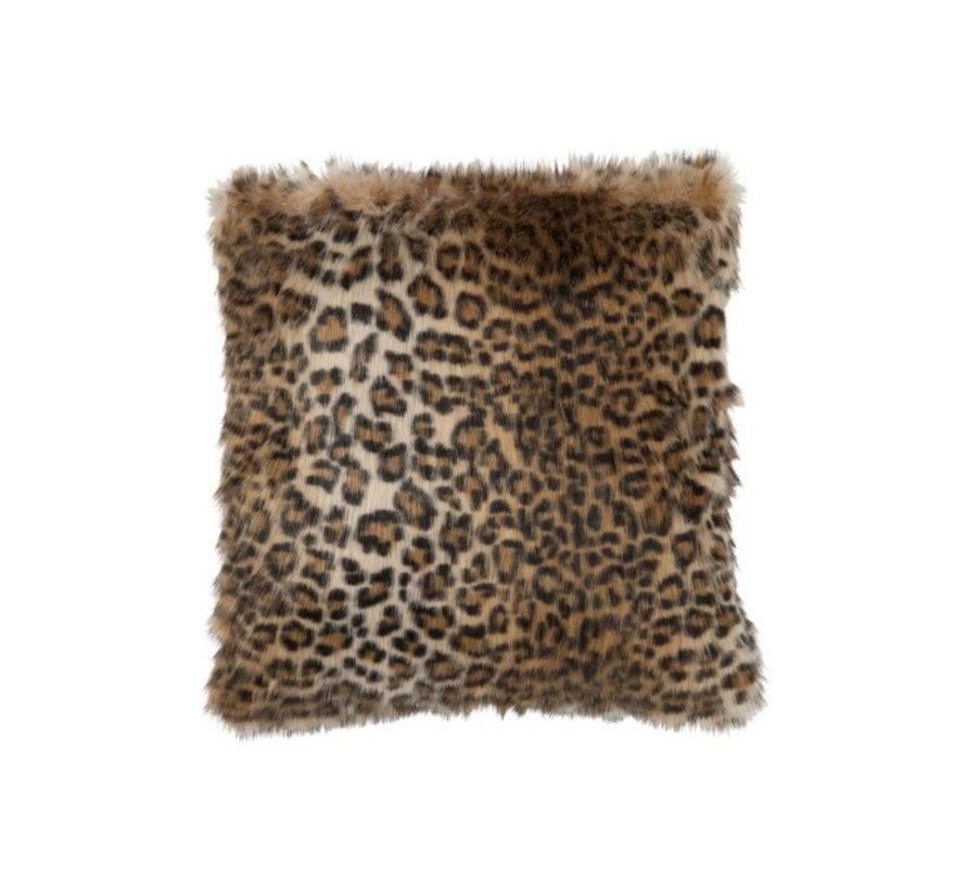 Cushion Square Fake Fur Leopard Black - Brown