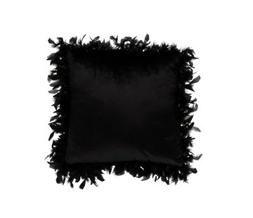 J -Line Cushion Square Polyester Plumes - Black