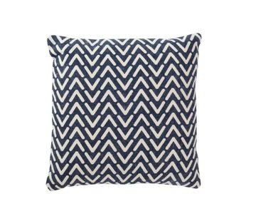 J -Line Cushion Square Cotton Print Blue - White