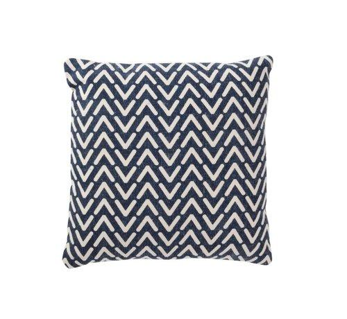 J -Line Kussen Vierkant Katoen Print Blauw - Wit