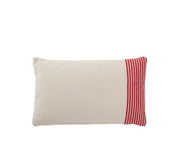 J -Line Cushion Rectangle Cotton Striped White - Red