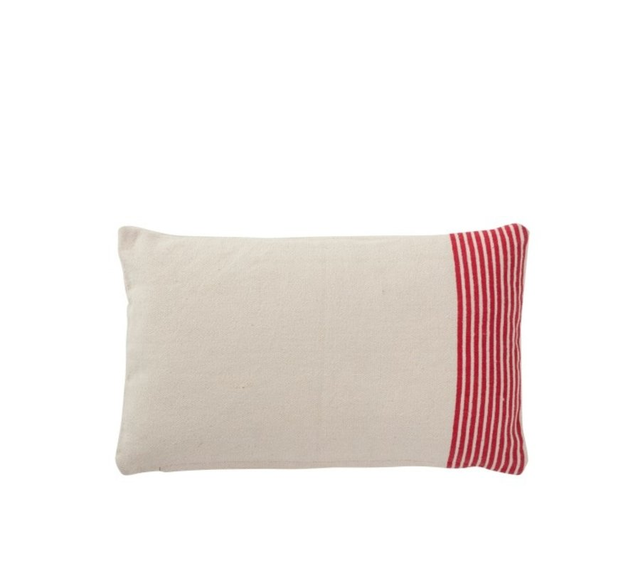 Cushion Rectangle Cotton Striped White - Red