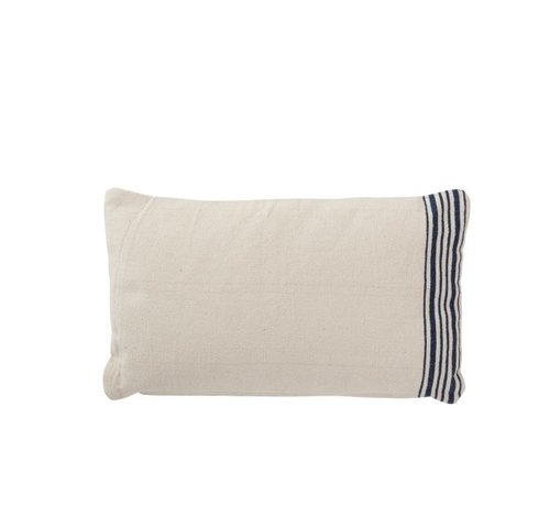J -Line Cushion Rectangle Cotton Striped White - Blue