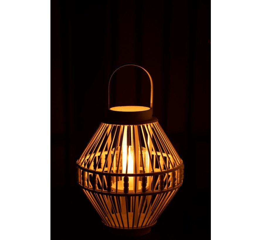 Lantaarn Hoog Bamboo Parels Wit - Large