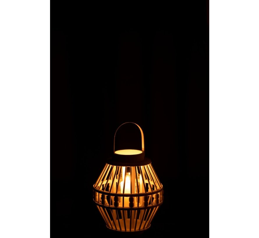 Lantaarn Hoog Bamboo Parels Wit - Small