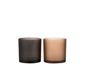 J -Line Theelichthouders Glas Bladeren Zwart Bruin - Medium